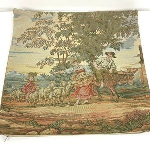 """European Sheep Farmers Tapestry Pillow Cover 18"""""""
